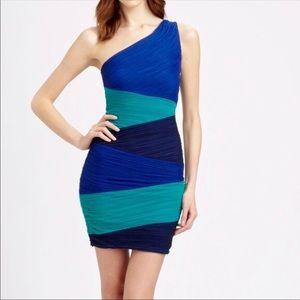 BCBGMAXAZRIA Kira colorblock shirred dress